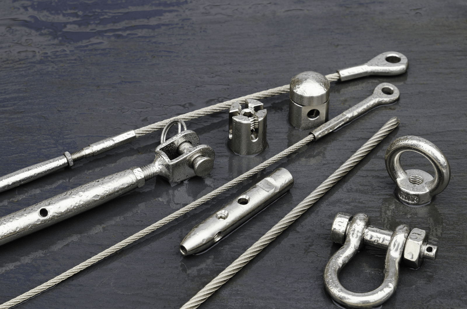 Stainless steel wire rope end fittings and components