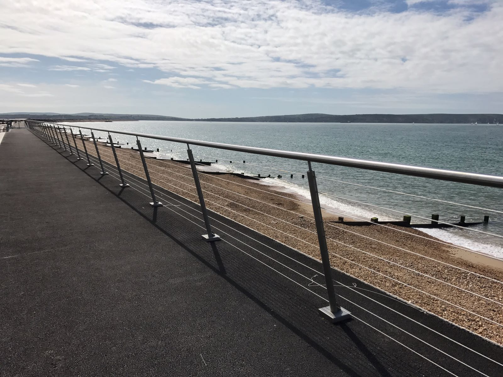 Stainless steel wire rope balustrade on seafront