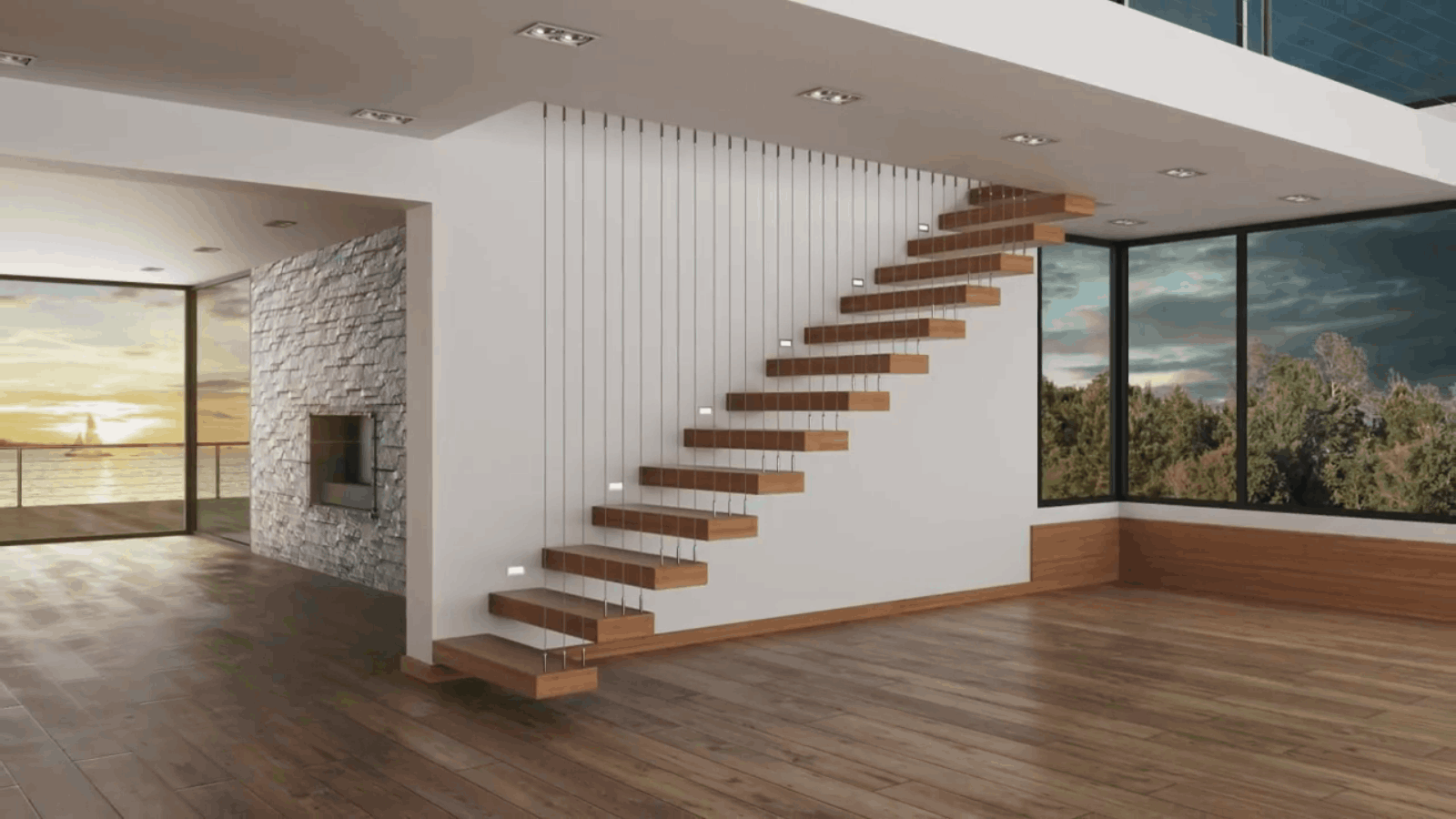 Vertical balustrade using stainless steel wire rope for staircase