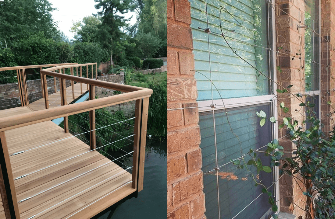 Cable balustrade and wire rope trellis for garden design