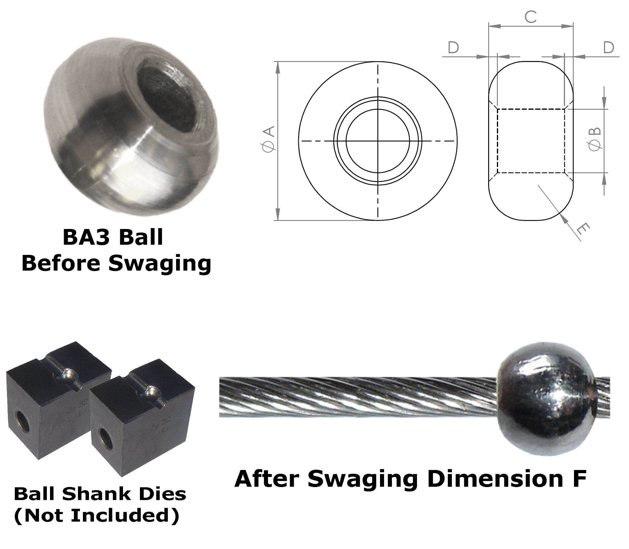 Ba3 2 A2 Aisi 304 Stainless Swage Ball Fitting 1 5mm 1 16