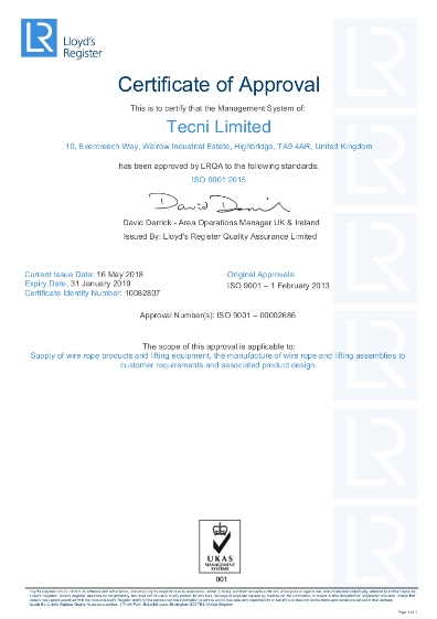 TECNI Ltd ISO 9001 Quality Certificate