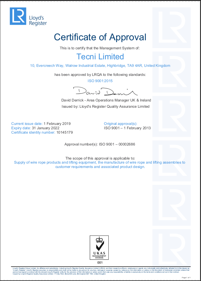 TECNI Ltd UK LRQA ISO9001 Approval