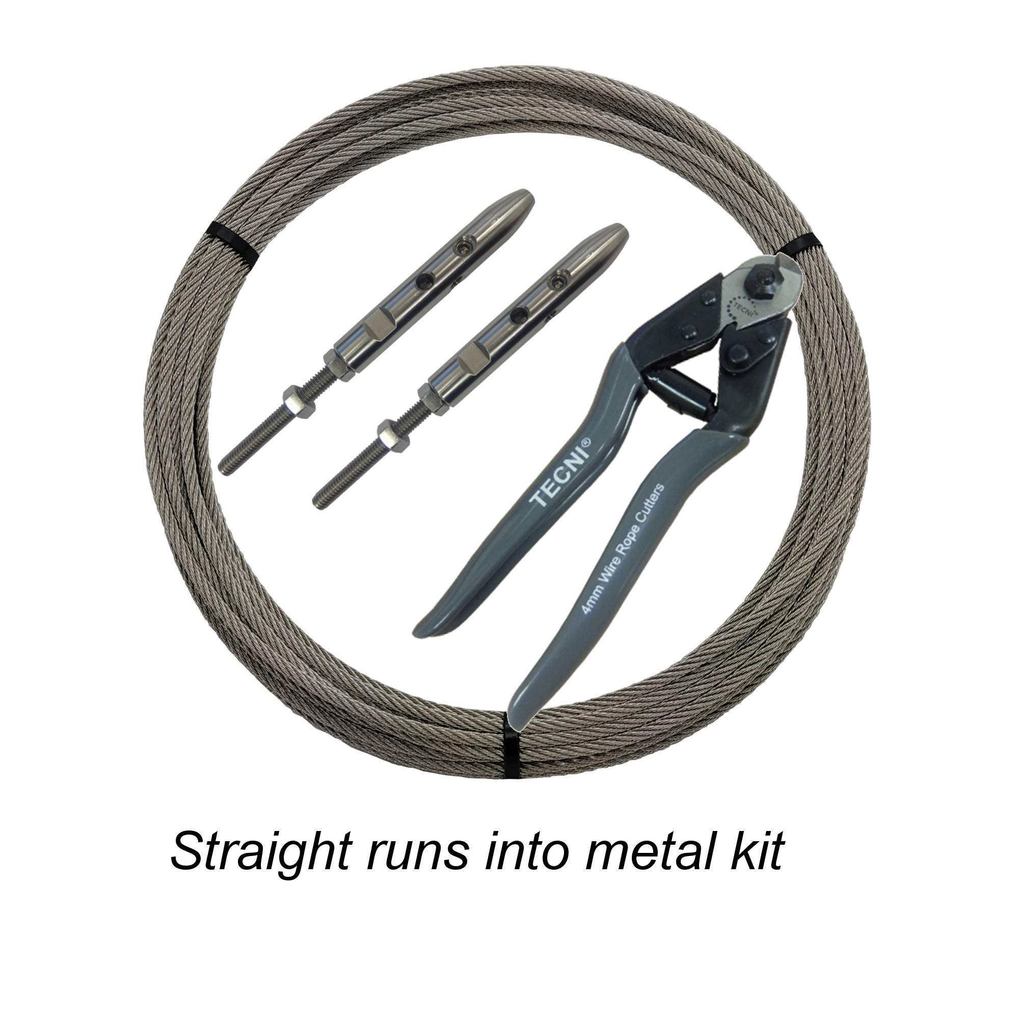 Straight cable runs into Metal Kit