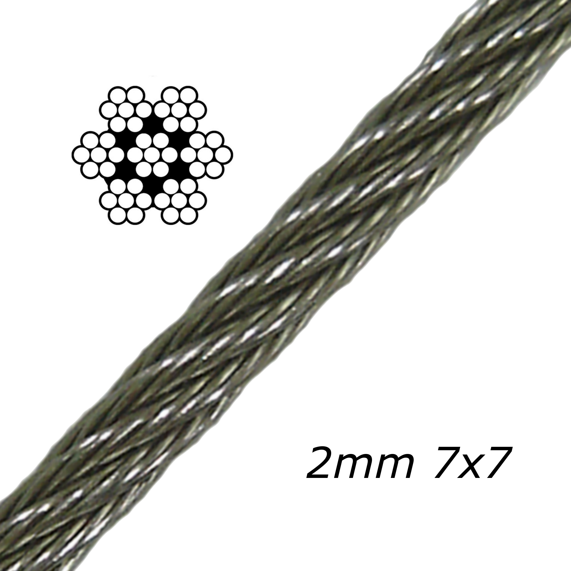 2mm Galvanised Steel Cable 7x7
