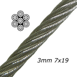 3mm Galvanised steel Cable 7x19