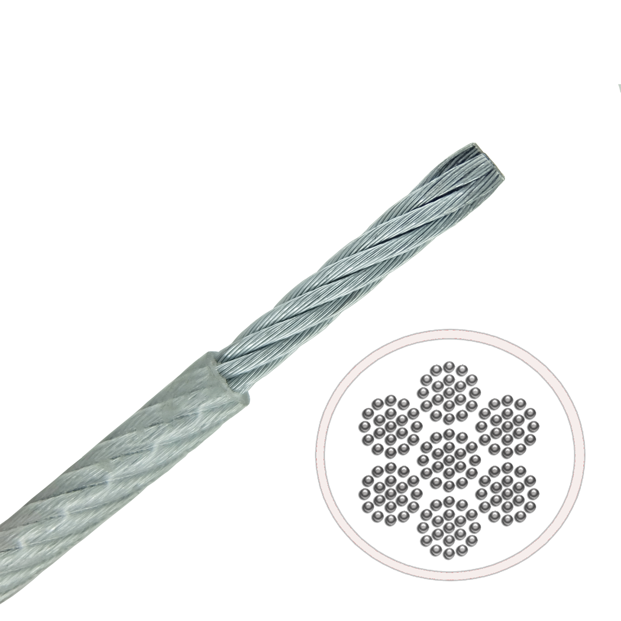 Clear PVC Coated Galvanised Steel Very Flexible 7x19 Cable - 514.000.050