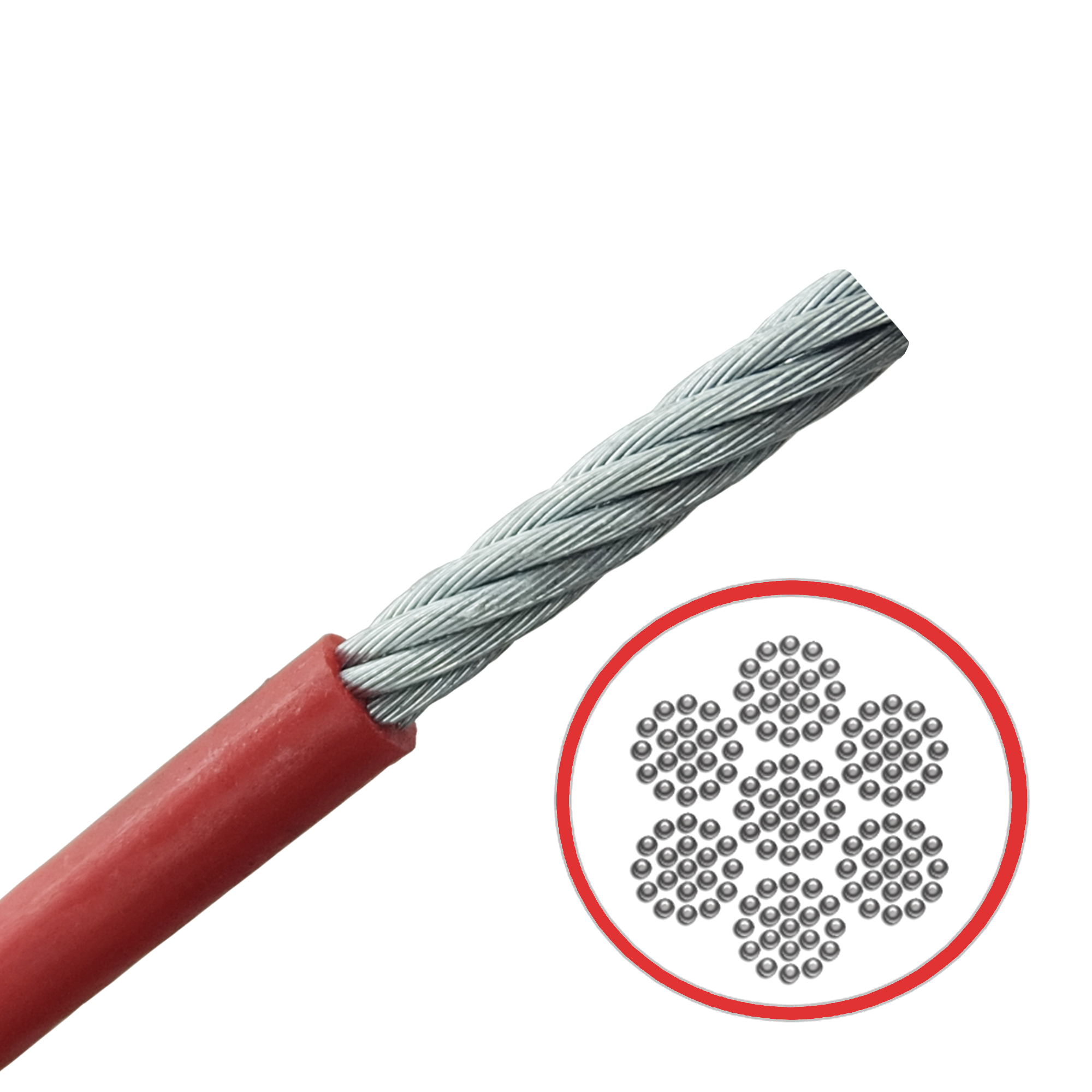 Red PVC Coated Galvanised Steel Very Flexible 7x19 Cable - 514.004.060