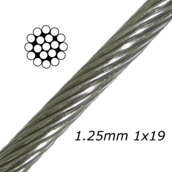 1.25mm Stainless Steel Cable 1x19