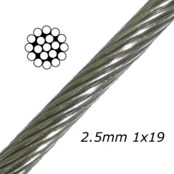 2.5mm Stainless Steel Cable 1x19