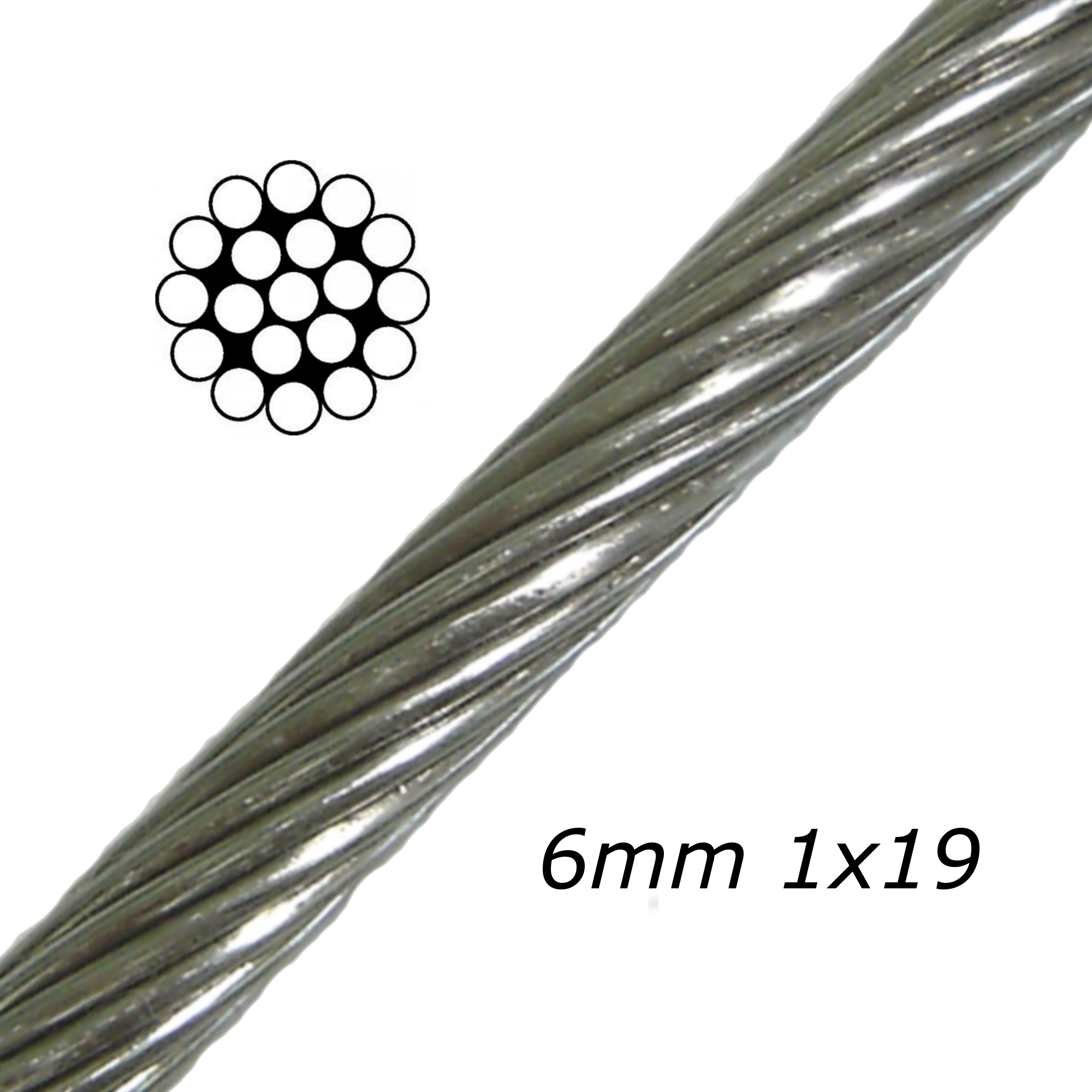 6mm Stainless Steel Cable 1x19