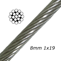 8mm Stainless Steel Cable 1x19