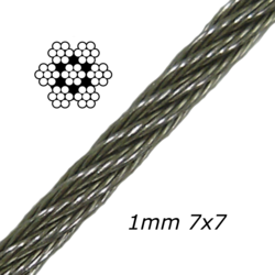 1mm Stainless Steel Cable 7x7