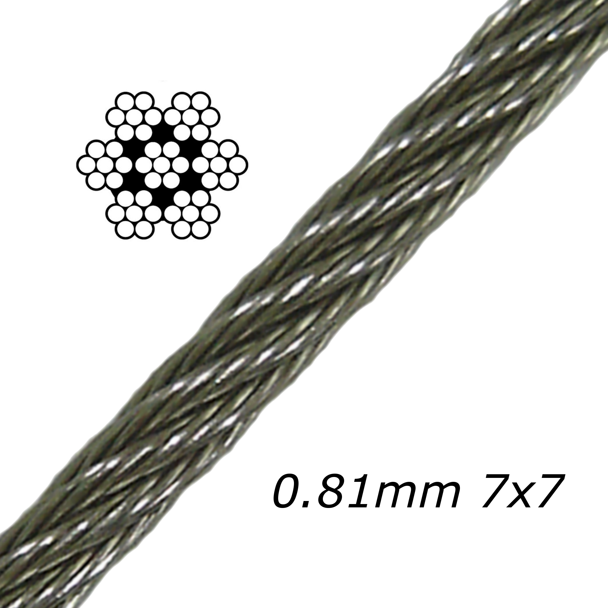 0.81mm Stainless Steel Cable 7x7