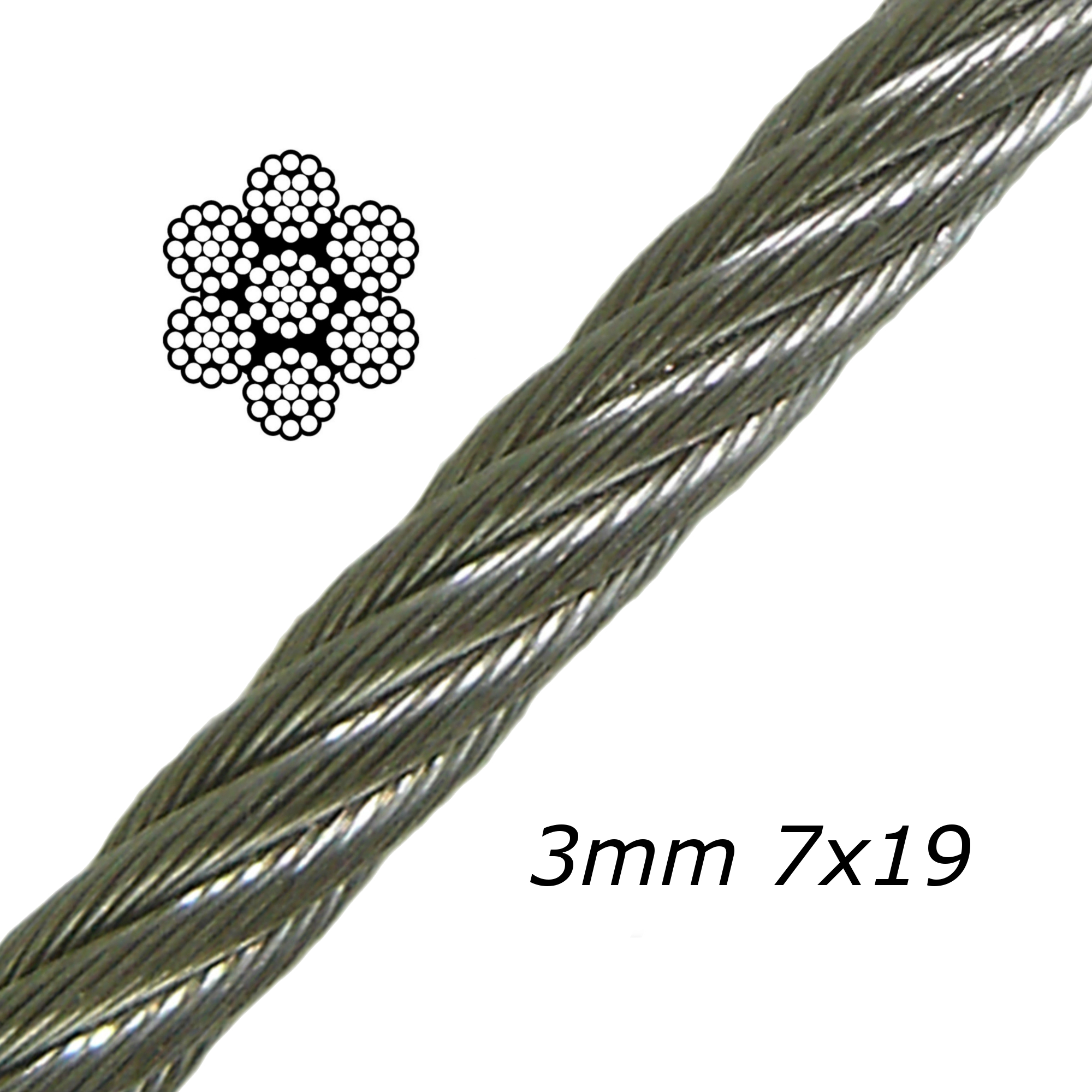 3mm Stainless Steel Cable 7x19
