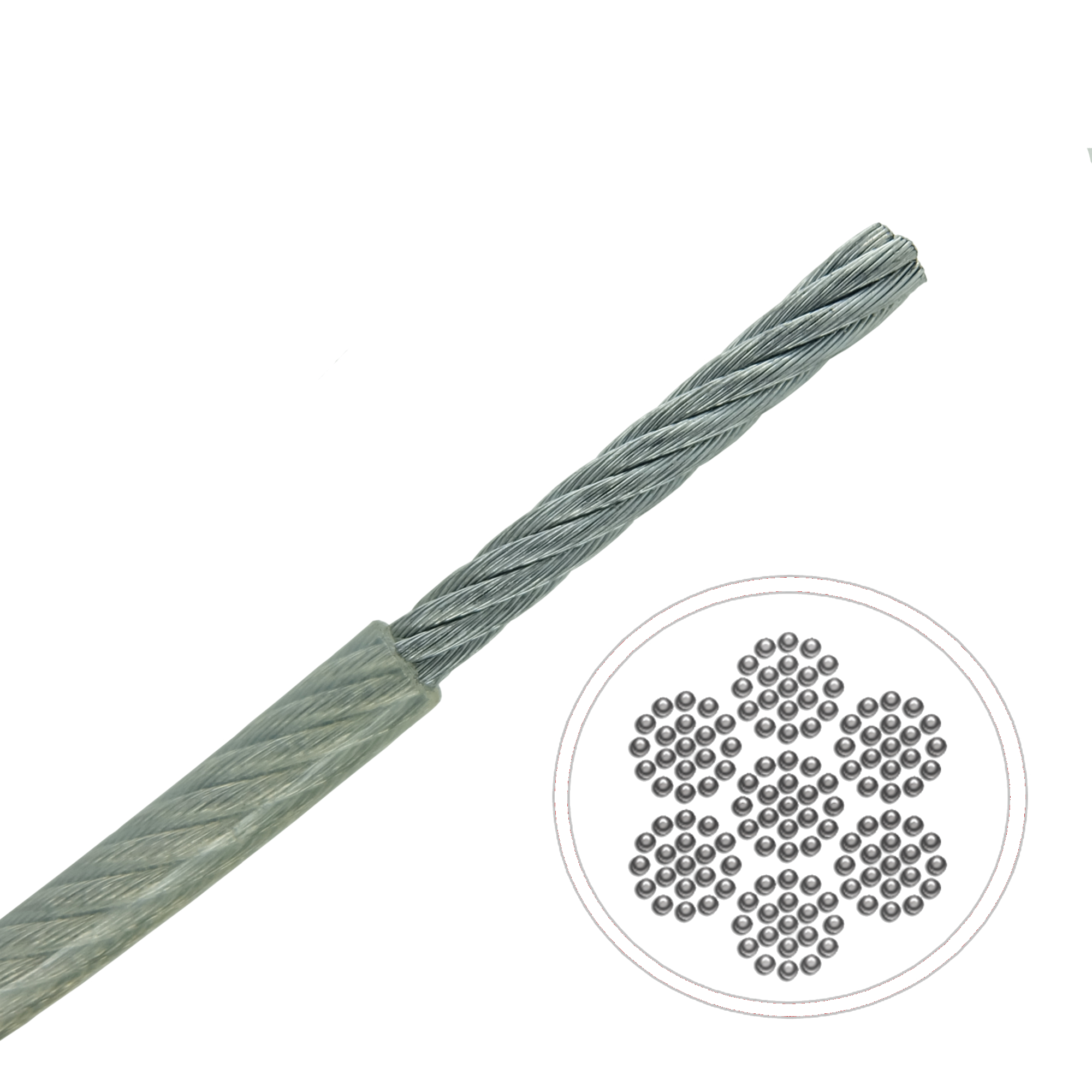 0.6mm 7x19 A4-AISI 316 Stainless Steel Cable MBL 22kgs Clear Nylon ...