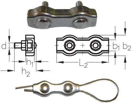 3mm Duplex Stainless Steel Wire Rope Clip/Grip