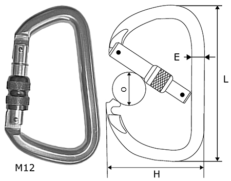 M12 Aluminium Karabiner 17mm Screw Gate Opening