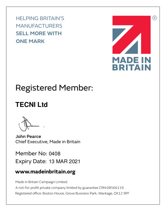 TECNI Made in Britain Certificate 2020