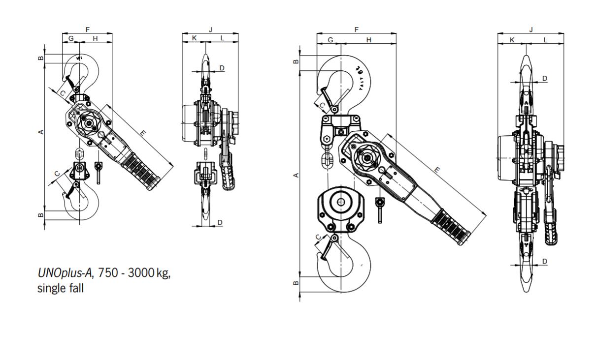 unoplus series a lever hoist dimensions working load 3000kg